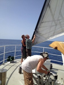Anne, Joel e Rossano alle vele (foto Sandra Petrignani)