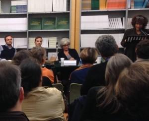 Paolo Di Paolo, Giorgio Biferali, io e Francesca Gatto ieri alla Casa delle Letterature a Roma